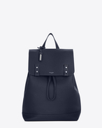 SAINT LAURENT Sac de Jour Men U SAC DE JOUR SOUPLE backpack in navy blue grained leather f