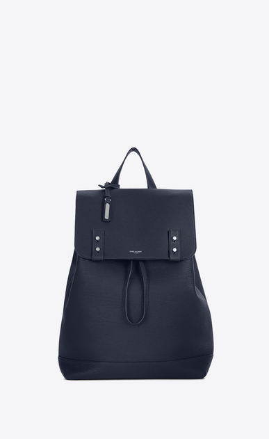 SAINT LAURENT Backpack Man SAC DE JOUR SOUPLE backpack in navy blue grained leather a_V4
