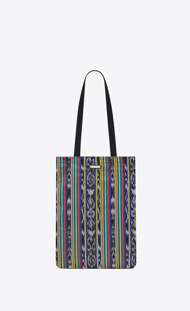 SAINT LAURENT Tote Bag Uomo Shopping bag ANTIBE flat in tela ikat multicolore e cotone nera a_V4