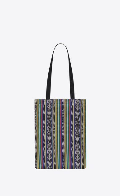 SAINT LAURENT Tote Bag Uomo Shopping bag ANTIBE flat in tela ikat multicolore e cotone nera b_V4