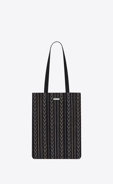 SAINT LAURENT Totes Man ANTIBE flat shopping bag in black and white cotton a_V4