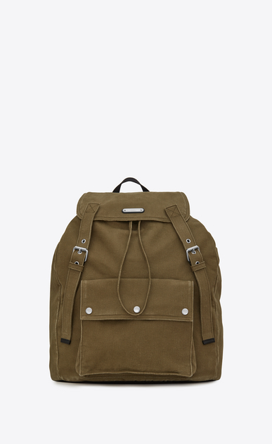 SAINT LAURENT Noé luggages Man NOE SAINT LAURENT backpack in khaki gabardine a_V4