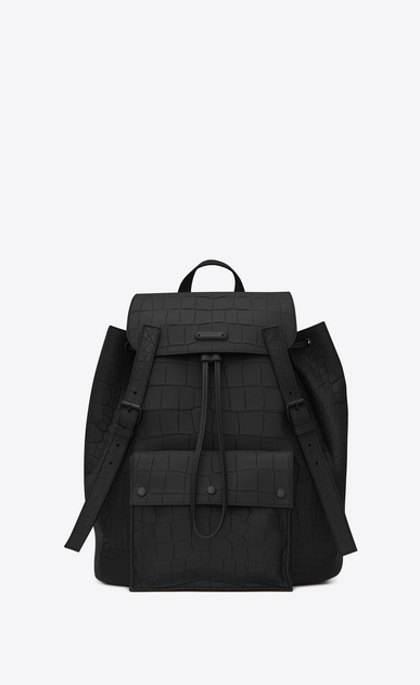 SAINT LAURENT Noé luggages Man noe saint laurent backpack in black crocodile a_V4