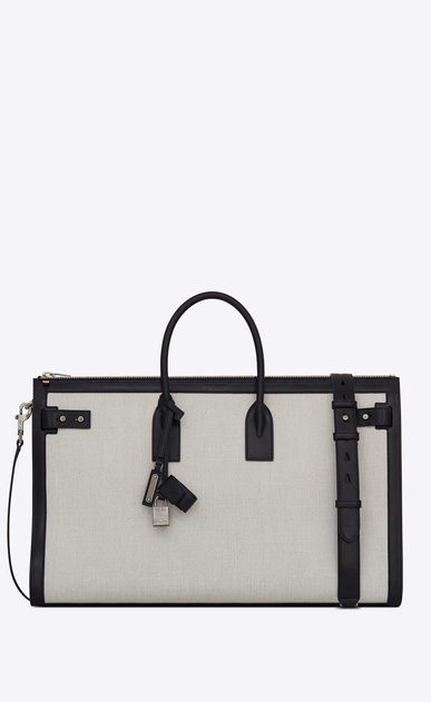 SAINT LAURENT Sac de Jour Men U Large DUFFLE 48H SAC DE JOUR SOUPLE bag in white linen canvas a_V4