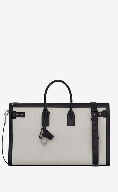 SAINT LAURENT Sac de Jour Men U Large DUFFLE 48H SAC DE JOUR SOUPLE bag in white linen canvas v4