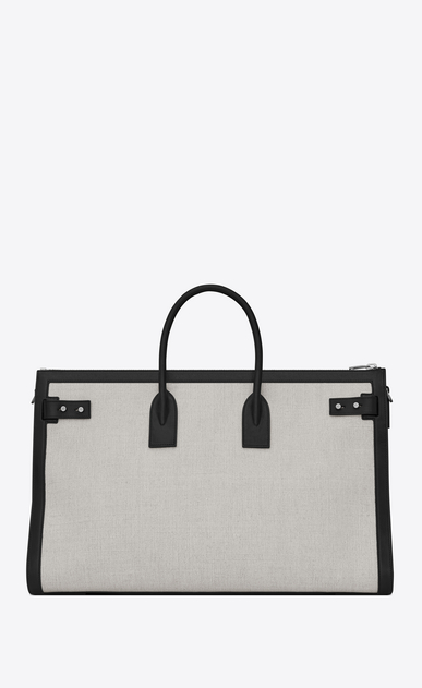 SAINT LAURENT Sac de Jour Men Man Large DUFFLE 48H SAC DE JOUR SOUPLE bag in white linen canvas b_V4
