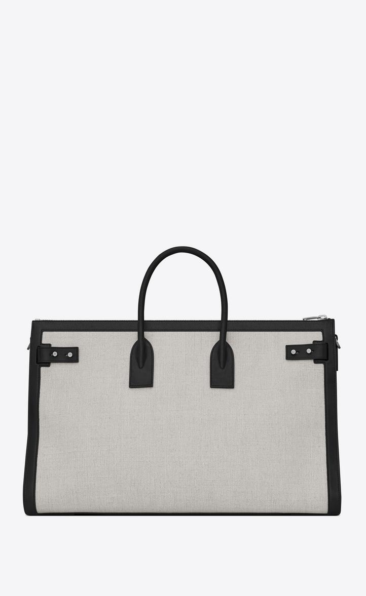 Saint Laurent Sac De Jour 48h Duffle Bag In Linen Canvas  3e25f31cb40f4