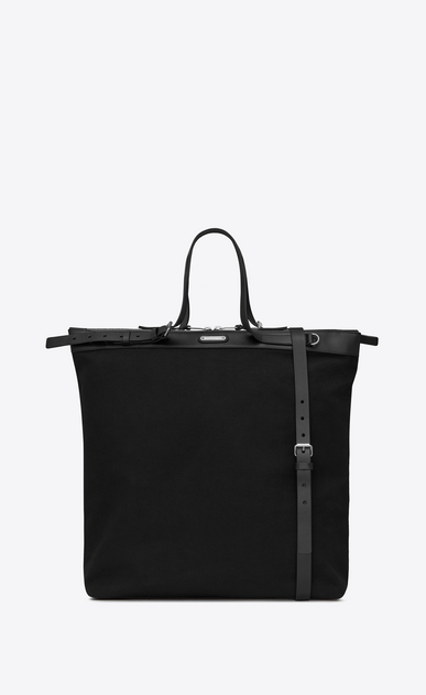 SAINT LAURENT Totes Man ID shopping bag in black canvas a_V4