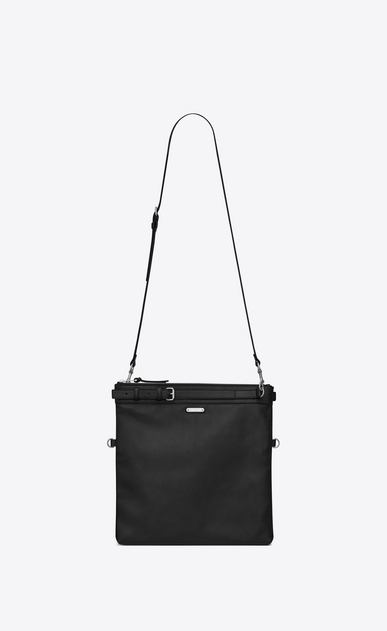 SAINT LAURENT Messenger And Crossbody U ID shoulder pouch bag in black leather a_V4
