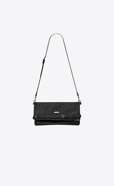 SAINT LAURENT Messenger And Crossbody U ID shoulder pouch bag in black leather b_V4