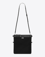 SAINT LAURENT Messenger And Crossbody U ID shoulder pouch bag in black cotton canvas f