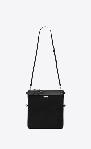 SAINT LAURENT Messenger And Crossbody Man ID shoulder pouch bag in black cotton canvas a_V4