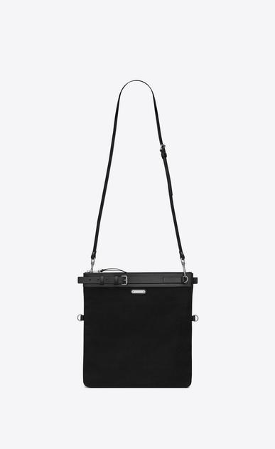 SAINT LAURENT Messenger And Crossbody U ID shoulder pouch bag in black cotton canvas v4