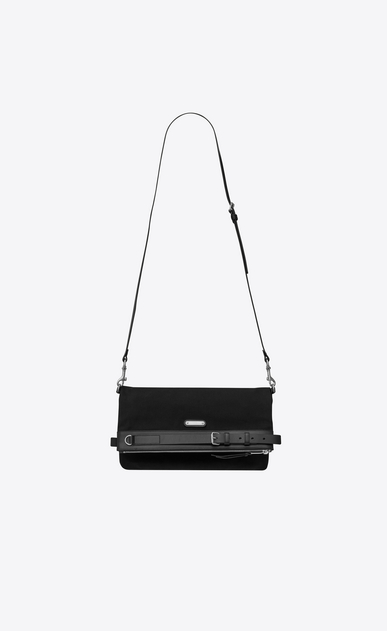 SAINT LAURENT Messenger And Crossbody Man ID shoulder pouch bag in black cotton canvas b_V4