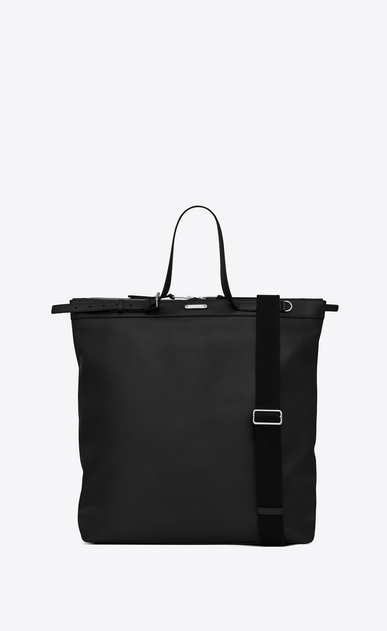 SAINT LAURENT Totes Man ID shopping bag in black leather a_V4