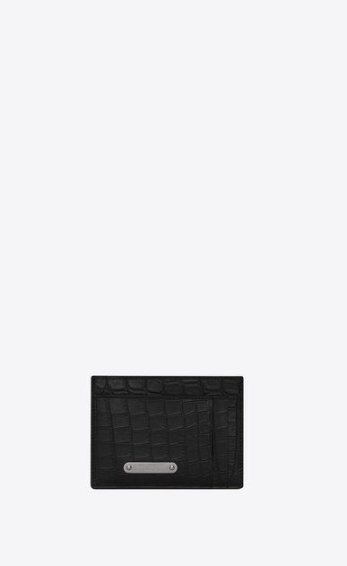 SAINT LAURENT ID SLG U ID card case and money clip in crocodile-look embossed black leather a_V4