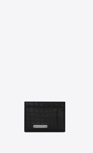 SAINT LAURENT ID SLG Homme Porte-cartes pince billets ID en cuir embossé effet crocodile noir a_V4