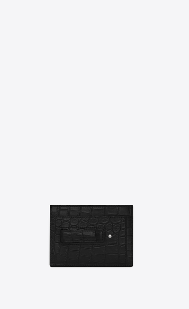 SAINT LAURENT ID SLG Homme Porte-cartes pince billets ID en cuir embossé effet crocodile noir b_V4