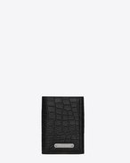 SAINT LAURENT ID SLG U Three-part ID wallet in crocodile-look embossed shiny or matte black leather f