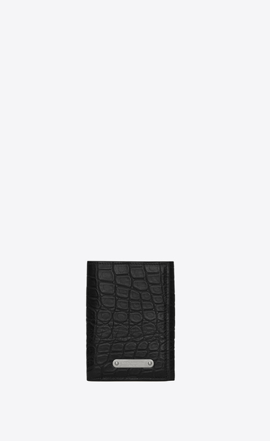 SAINT LAURENT ID SLG U Three-part ID wallet in crocodile-look embossed shiny or matte black leather a_V4