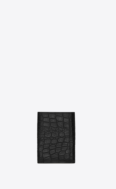 SAINT LAURENT ID SLG U Three-part ID wallet in crocodile-look embossed shiny or matte black leather b_V4