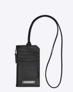 SAINT LAURENT ID SLG U FRAGMENTS ID card case with strap in black leather f