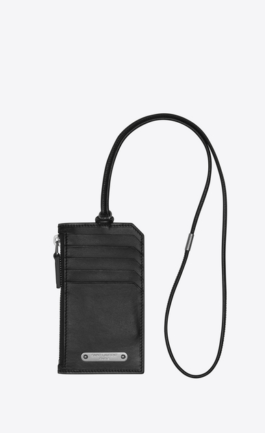 SAINT LAURENT ID SLG U FRAGMENTS ID card case with strap in black leather a_V4