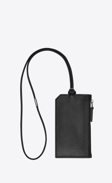 SAINT LAURENT ID SLG U FRAGMENTS ID card case with strap in black leather b_V4