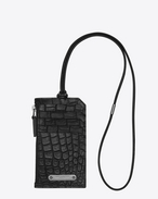 SAINT LAURENT ID SLG U FRAGMENTS ID card case with strap in crocodile-look embossed black leather f