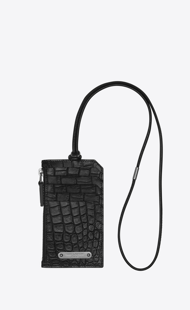 SAINT LAURENT ID SLG U FRAGMENTS ID card case with strap in crocodile-look embossed black leather a_V4