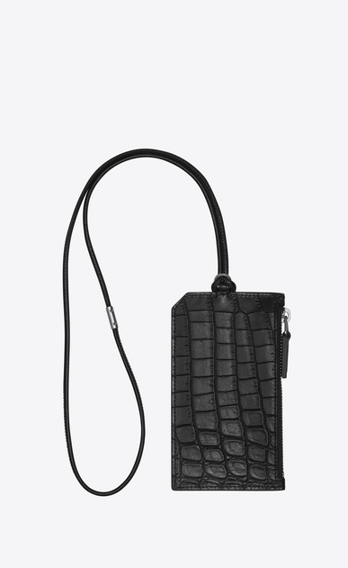 SAINT LAURENT ID SLG U FRAGMENTS ID card case with strap in crocodile-look embossed black leather b_V4