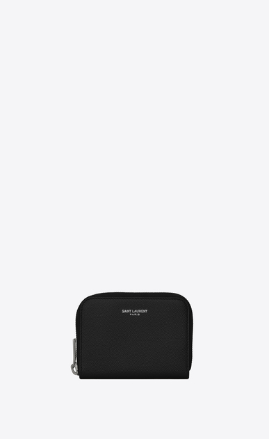 SAINT LAURENT Saint Laurent Paris SLG Man SAINT LAURENT PARIS zipped coin purse in black textured leather a_V4