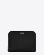 SAINT LAURENT ID SLG U ID zipped tablet pouch in black leather f