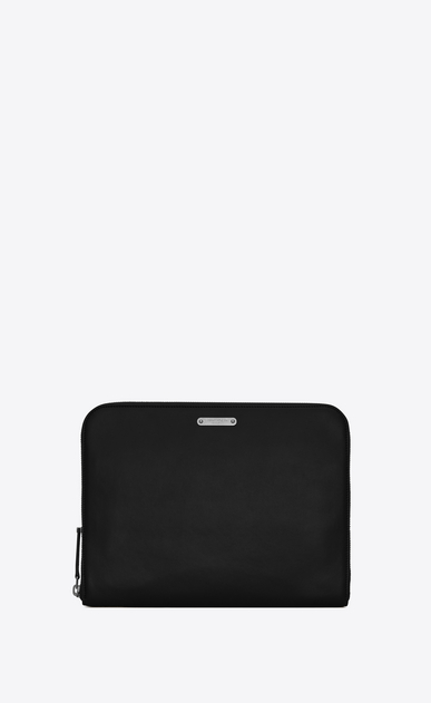 SAINT LAURENT ID SLG U Astuccio per tablet con zip in pelle nera a_V4