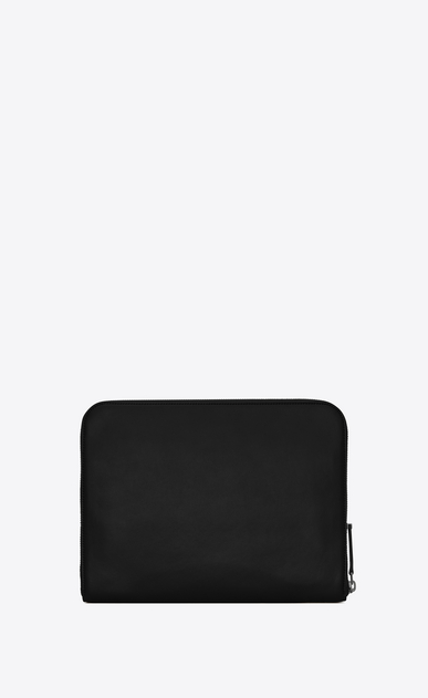 SAINT LAURENT ID SLG U Astuccio per tablet con zip in pelle nera b_V4