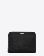 SAINT LAURENT ID SLG U ID zipped tablet pouch in crocodile-look embossed black leather f