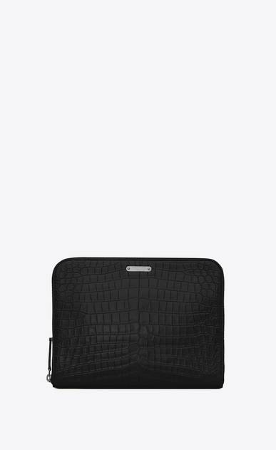 SAINT LAURENT ID SLG U ID zipped tablet pouch in crocodile-look embossed black leather a_V4