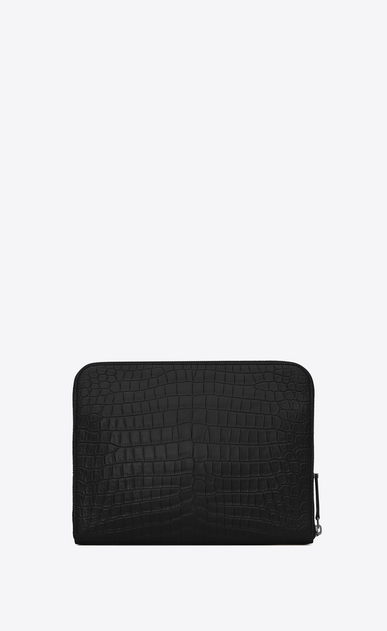 SAINT LAURENT ID SLG U ID zipped tablet pouch in crocodile-look embossed black leather b_V4