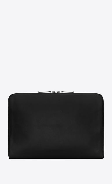 SAINT LAURENT ID SLG Man ID zipped laptop pouch in black leather b_V4