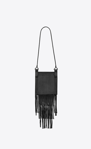 SAINT LAURENT Messenger And Crossbody U Large flat Saharienne bag in black leather b_V4