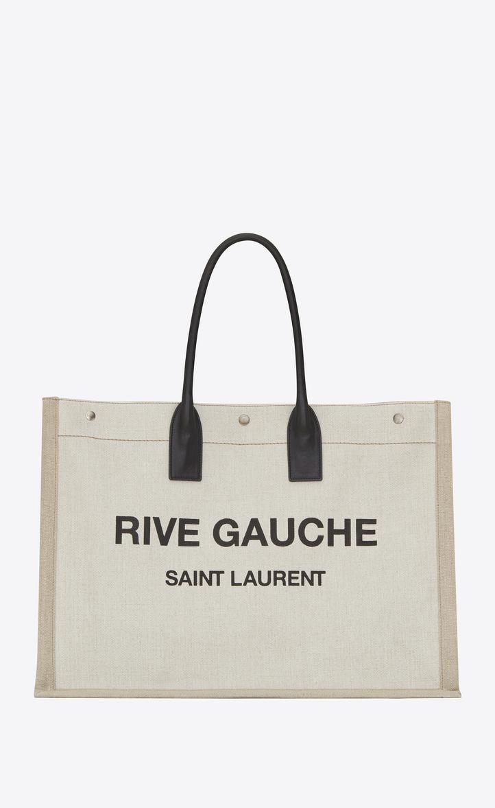 Noe Saint Laurent Rive Gauche Tote Bag In Linen Canvas Front View