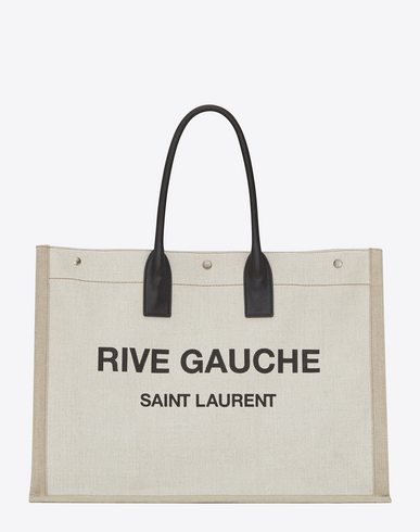 Men'S Noe Cabas Large Rive Gauche Canvas Tote Bag in Neutrals