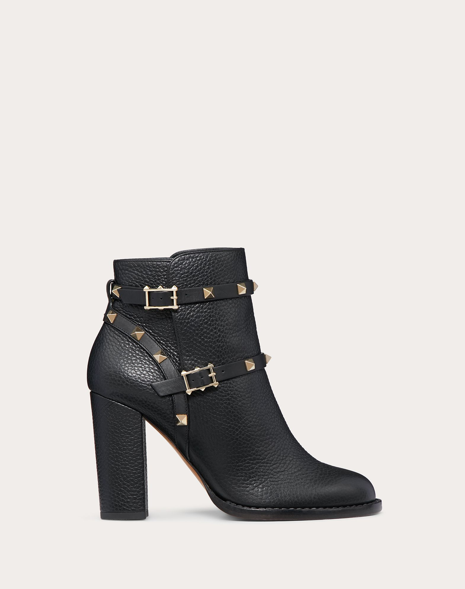 Grain Calfskin Leather Rockstud Bootie 100mm