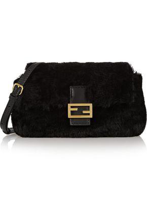 FENDI Baguette micro shearling and leather shoulder bag