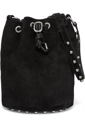 Alpha studded suede shoulder bag