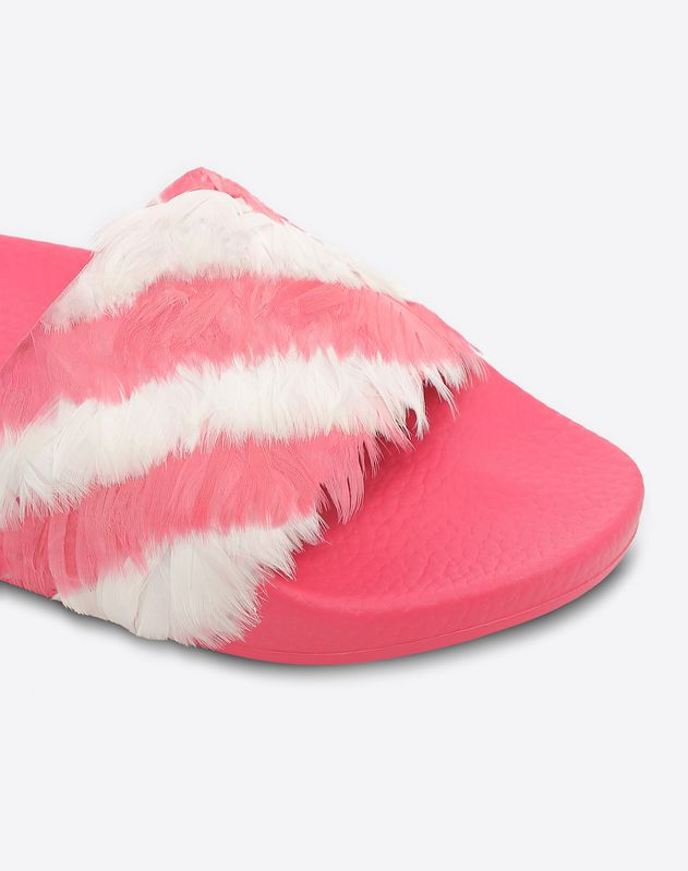 Slide Sandal with Feathers
