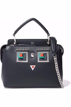 FENDI Embellished leather shoulder bag