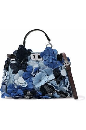 FENDI Leather-trimmed floral-appliquéd denim shoulder bag