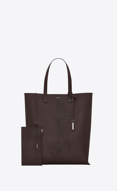 SAINT LAURENT Tote Bag Uomo Shopping bag BOLD vintage color cioccolato in pelle con logo traforato b_V4