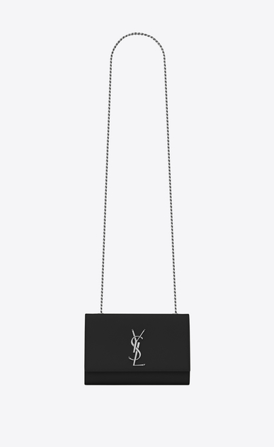 SAINT LAURENT MONOGRAM KATE Woman classic small kate chain bag in black grain de poudre textured leather a_V4